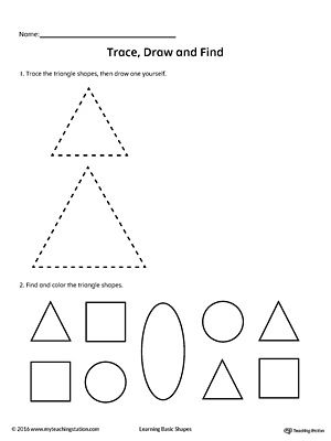 Trace Draw And Find Triangle Shape Shapes Worksheets Triangle Worksheet Tracing Worksheets
