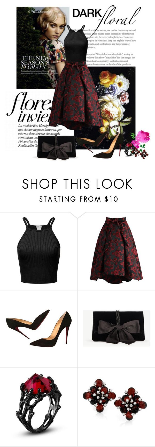 """""""Dark Floral."""" by vickuz ❤ liked on Polyvore featuring Dolce&Gabbana, Chicwish, L'Agence, Christian Louboutin, Ann Taylor and darkflorals"""