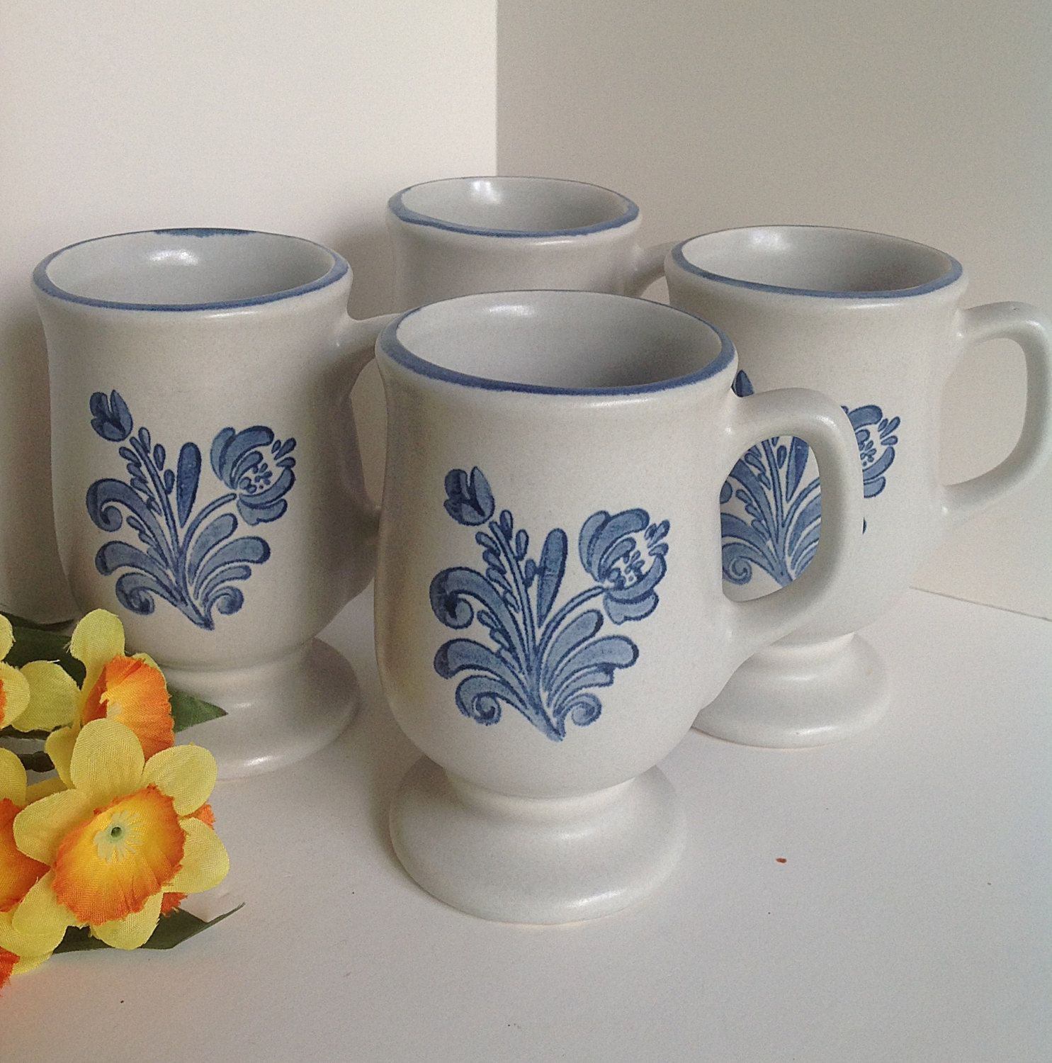 lovely Pfaltzgraff Vintage Floral Part - 3: 4 PFALTZGRAFF YORKTOWNE Footed Mugs with Blue Trim Gray with Blue Floral  Stoneware Cups by AnniesOldStuff on Etsy