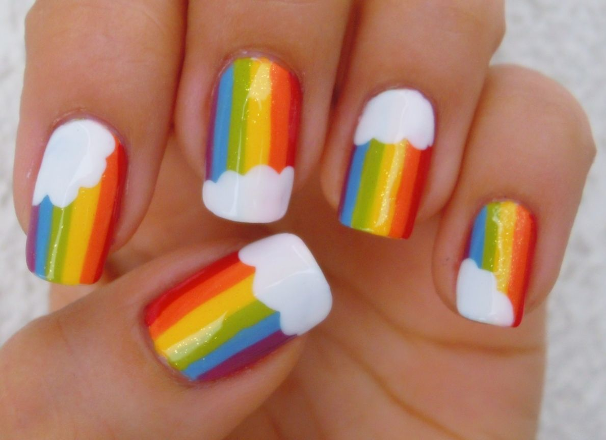 Cute Rainbow Nails | nails | Pinterest | Rainbows, Nail nail and ...