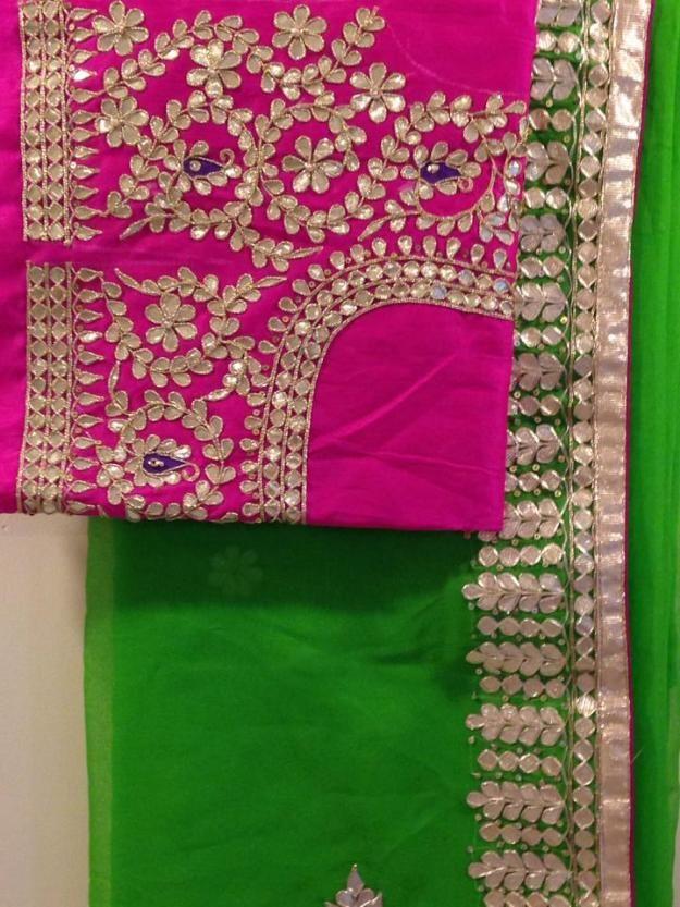 98b6c126a408e6 Beautiful Gota Patti Sarees   NETRA CREATION   Gota patti saree ...