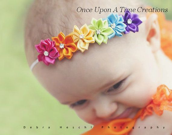 Baby Girl Hair Bow Hairbow Rainbow Shabby Flower Newborn Headband Bow