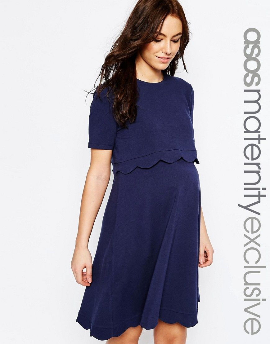 Image 1 of asos maternity nursing scallop dress with short sleeve image 1 of asos maternity nursing scallop dress with short sleeve ombrellifo Image collections