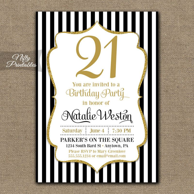 21st Birthday Invitations - Black & Gold Glitter - Twenty First Any ...