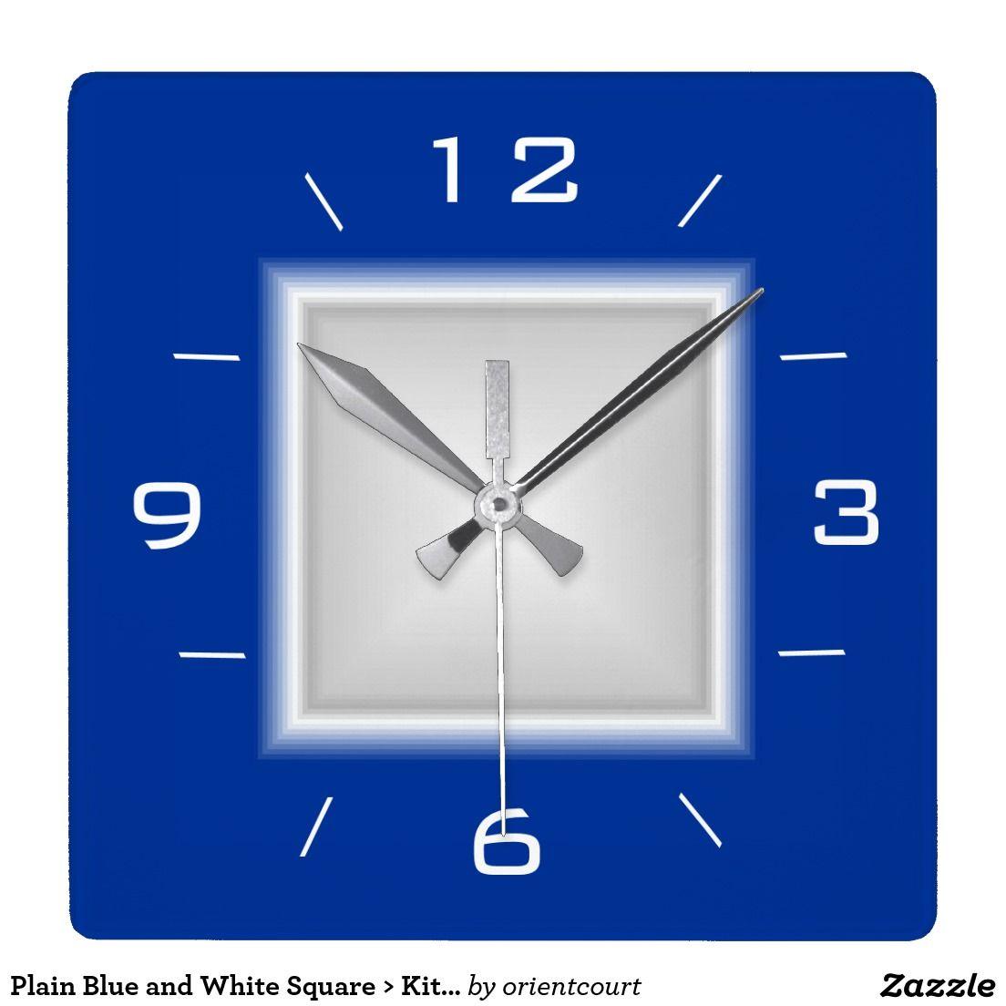 Merveilleux Plain Blue And White Square U003e Kitchen Clock