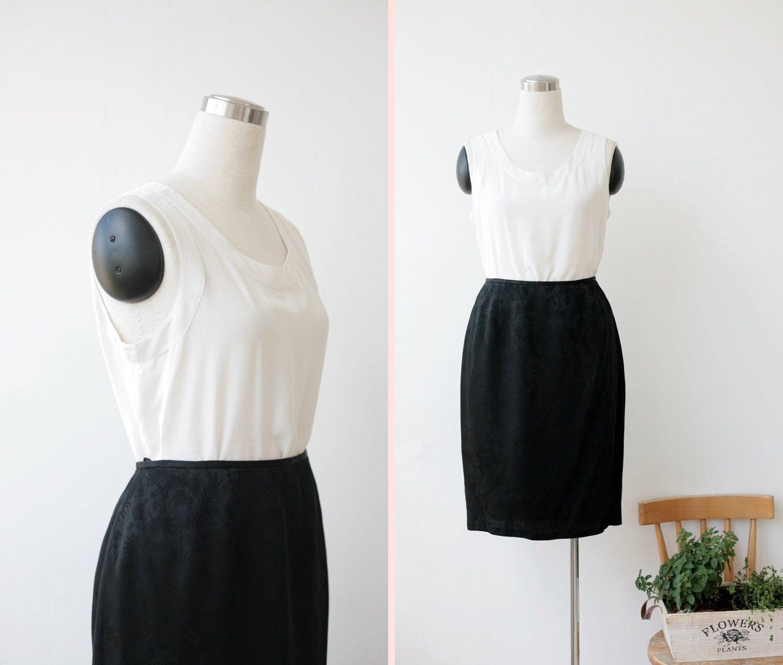 1990s vintage Tahari black skirt large, silky black skirt L, designer skirt sz 14 by prvtcollection on Etsy