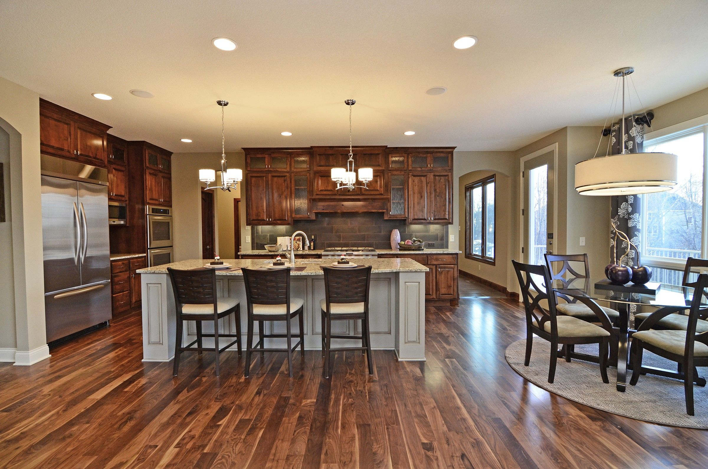 Pin By Hanson Builders On For The Kitchen Knotty Alder Cabinets Alder Cabinets French Doors