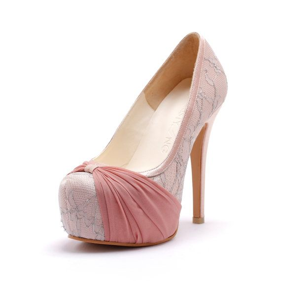 Custom Made Blush Pink Wedding Heels Cover Toe by ChristyNgShoes, $170.00
