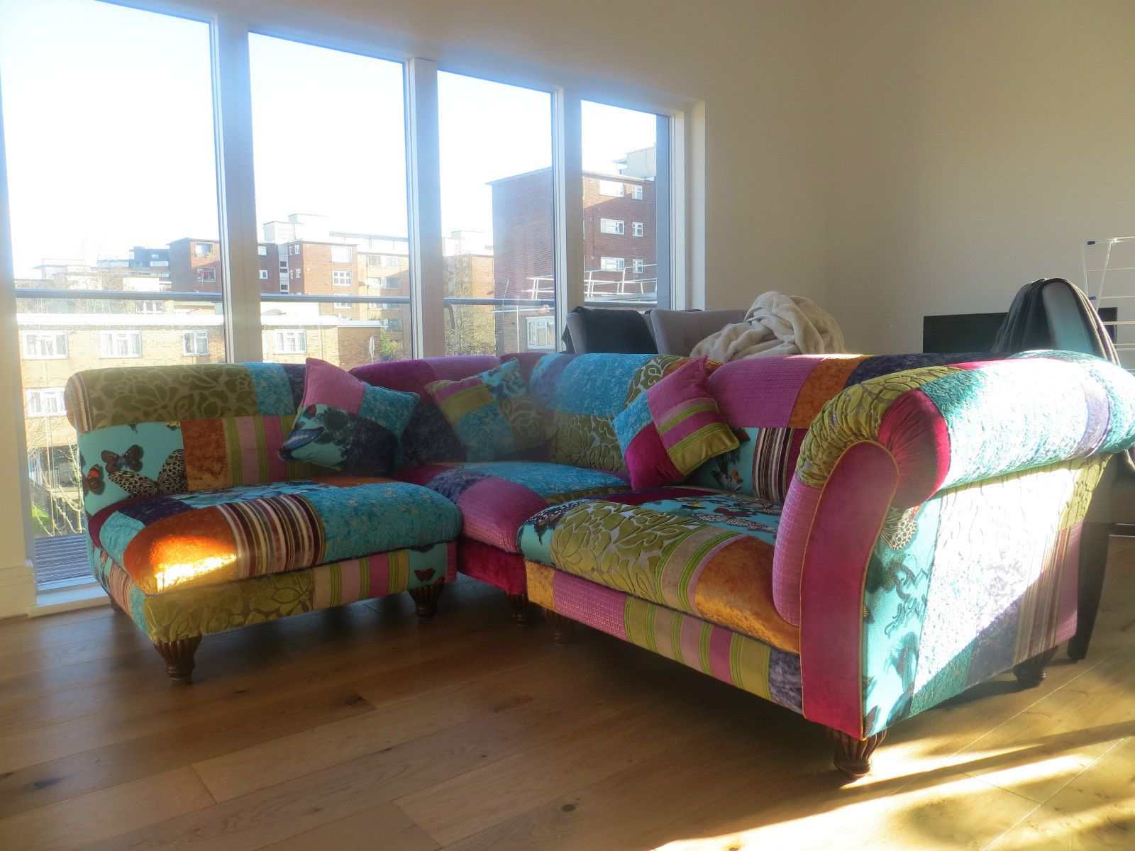 Divano Patchwork ~ Details about vibrant and bold chatsworth patchwork sofa bright