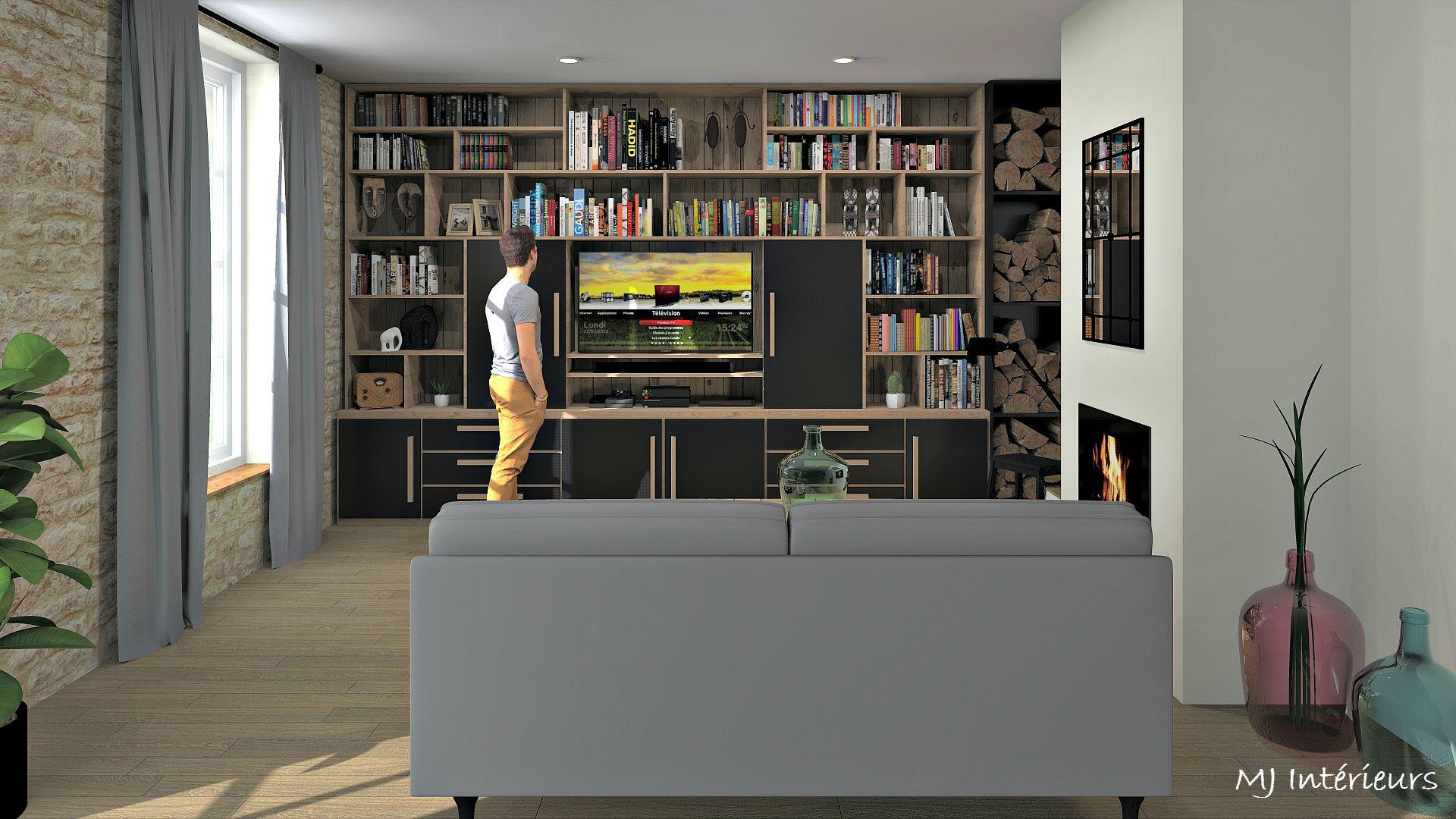 Meuble Tv Avec Bibliothèque espace salon avec bibliothèque meuble tv et bûcher conçu sur