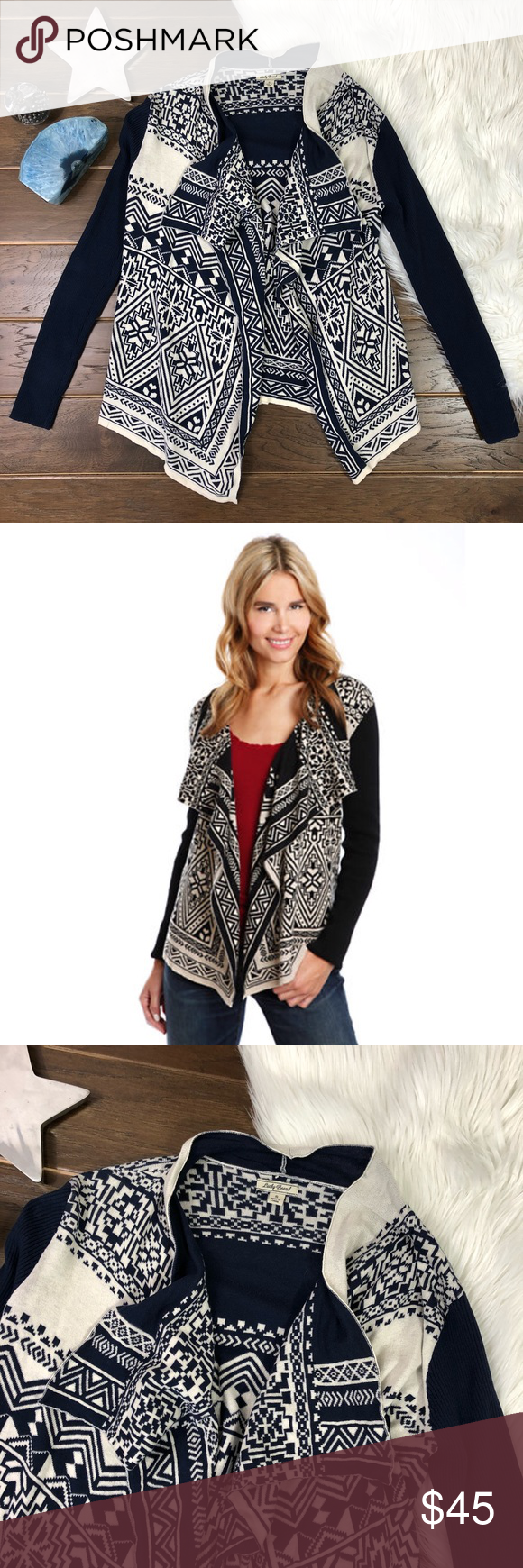 Lucky Brand Waterfall Cardigan Navy   White | Lucky brand, Open ...