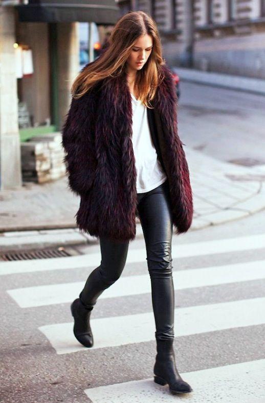 b8c7fb7709f 2 Cool Ways To Wear A Burgundy Fur Coat