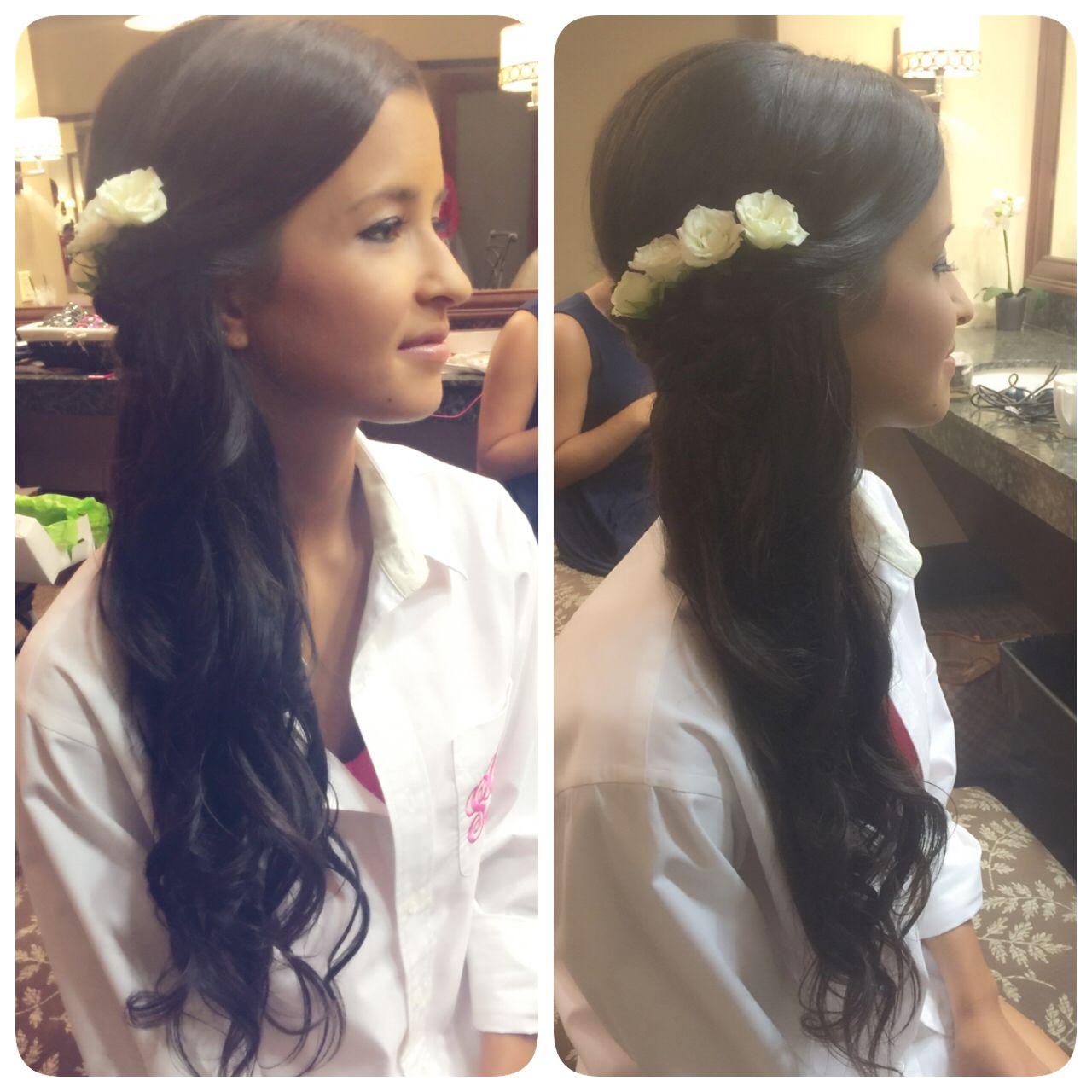 long waves, wedding hair, bridal hair, half up half down hairstyle