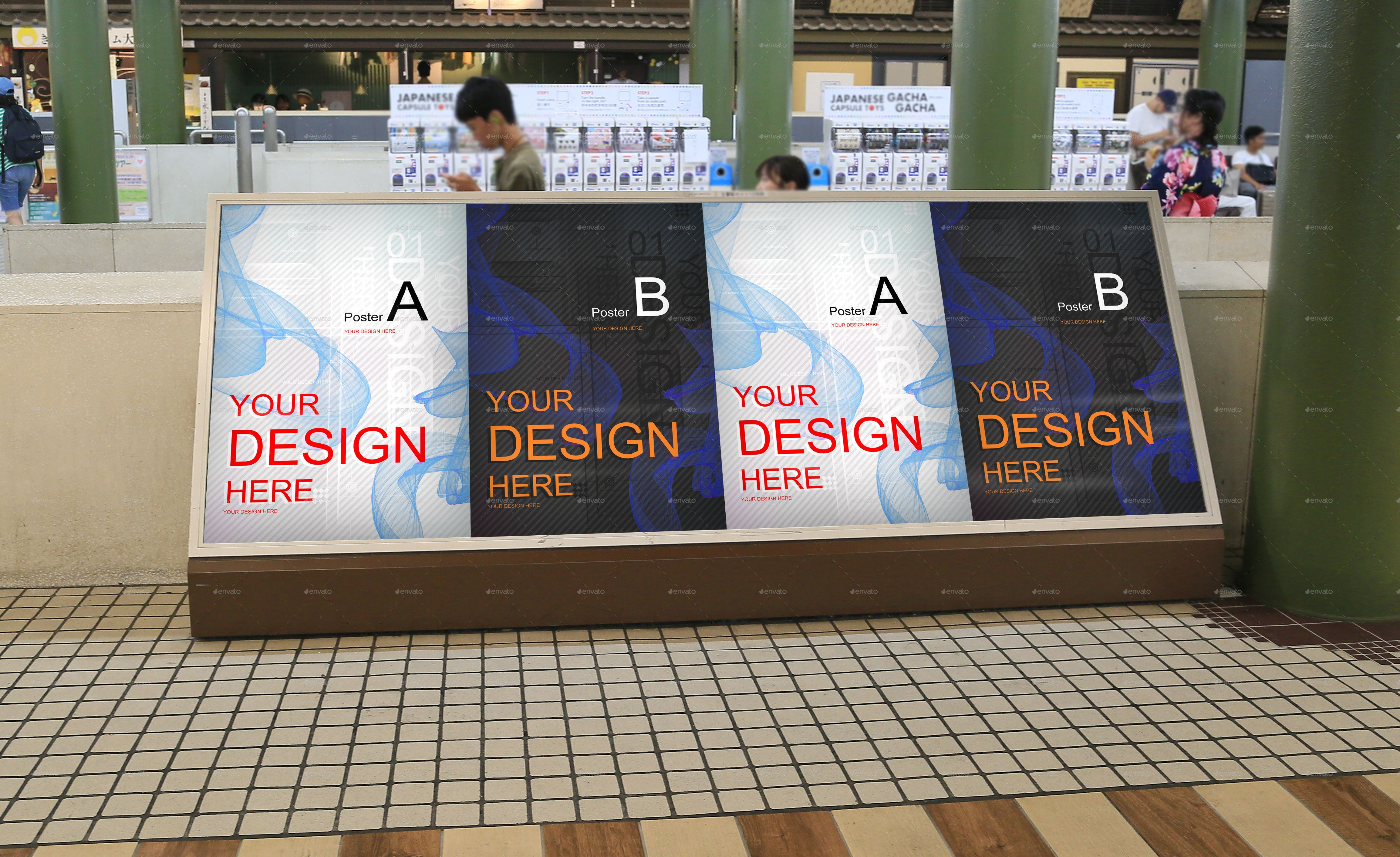 4 Poster Mockup Japan City Poster Mockup Creative Bookmarks Japan