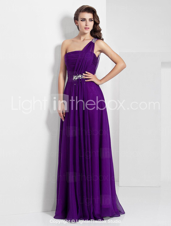 A-Line Princess One Shoulder Floor Length Chiffon Prom Formal ...