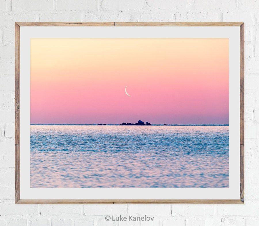 Sunrise Sea Print Moon Ocean Scenery Landscape Photo Etsy Large Wall Art Island Art Landscape Photos