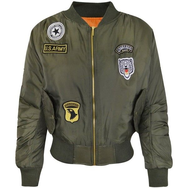 df08da83d Womens Retro Bomber Jacket US Army Style Badges Coat ❤ liked on ...