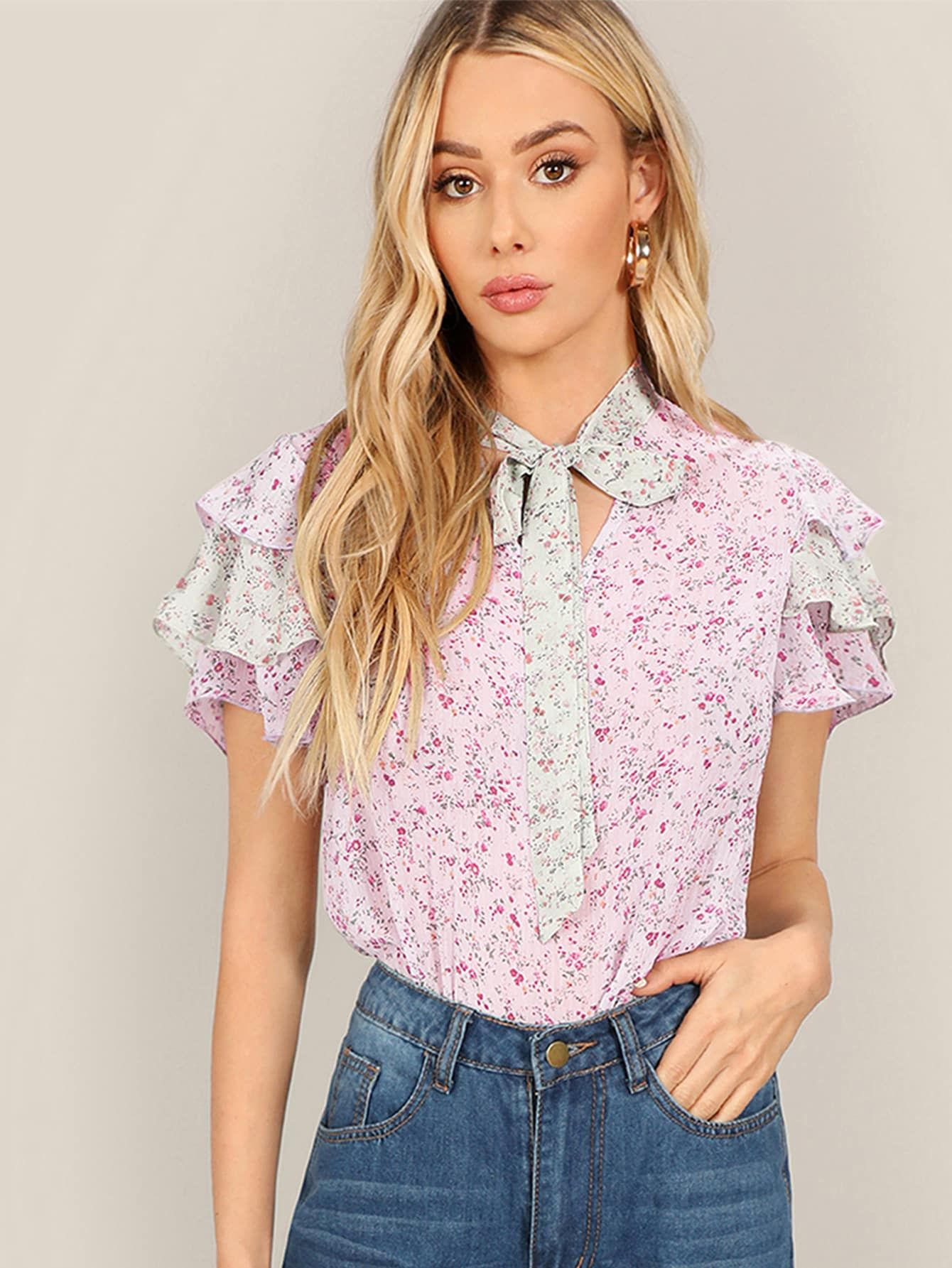 7d2faa7b78 Tie Neck Layered Sleeve Floral Top -SheIn(Sheinside) | Spring and ...
