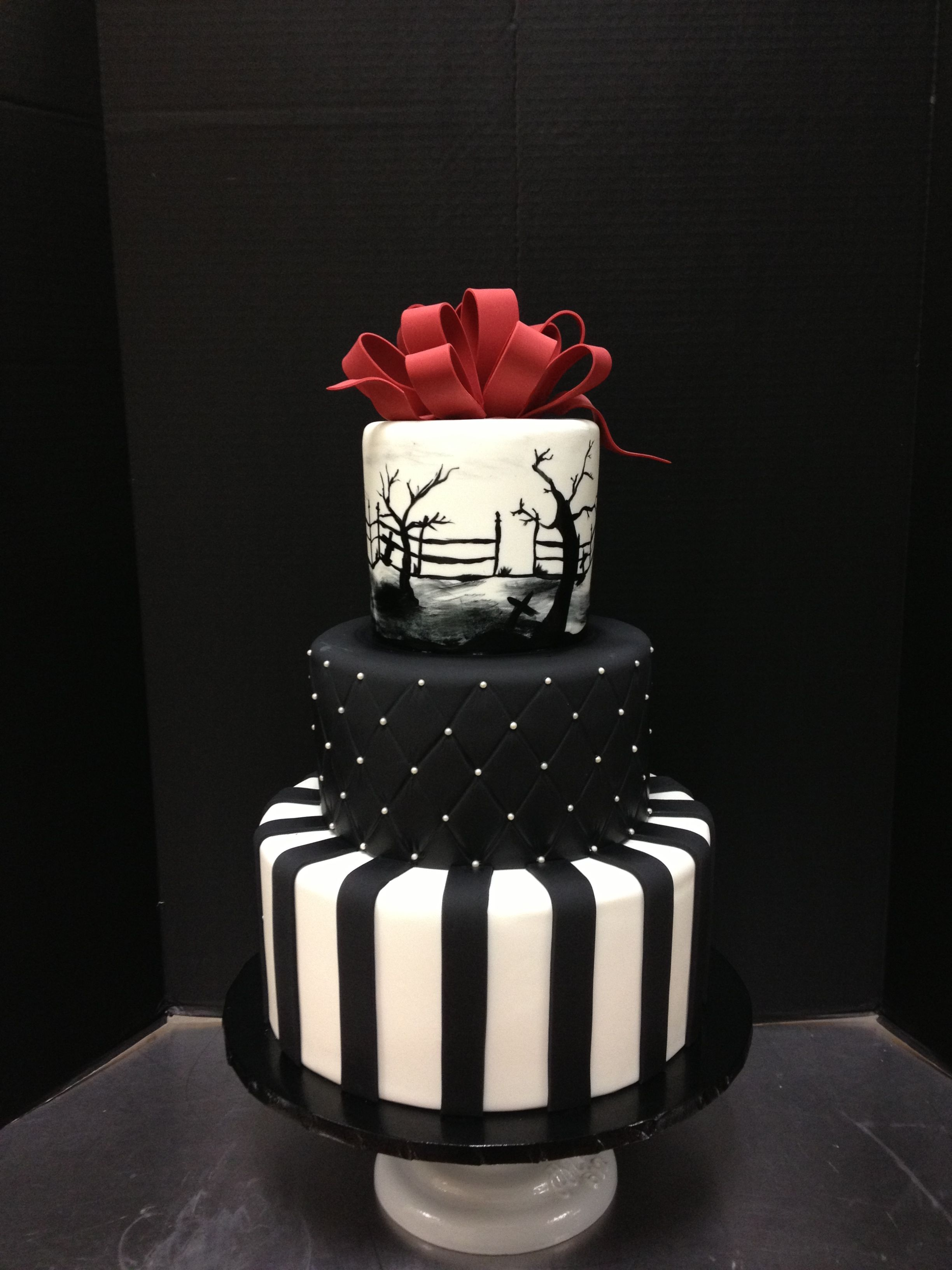 three tier fondant nightmare before christmas wedding cake them black and white with a red