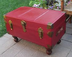 Wonderful Red Trunk Converted To Coffee Table In Painted With Red Chalk Paint With  Dark Glaze And