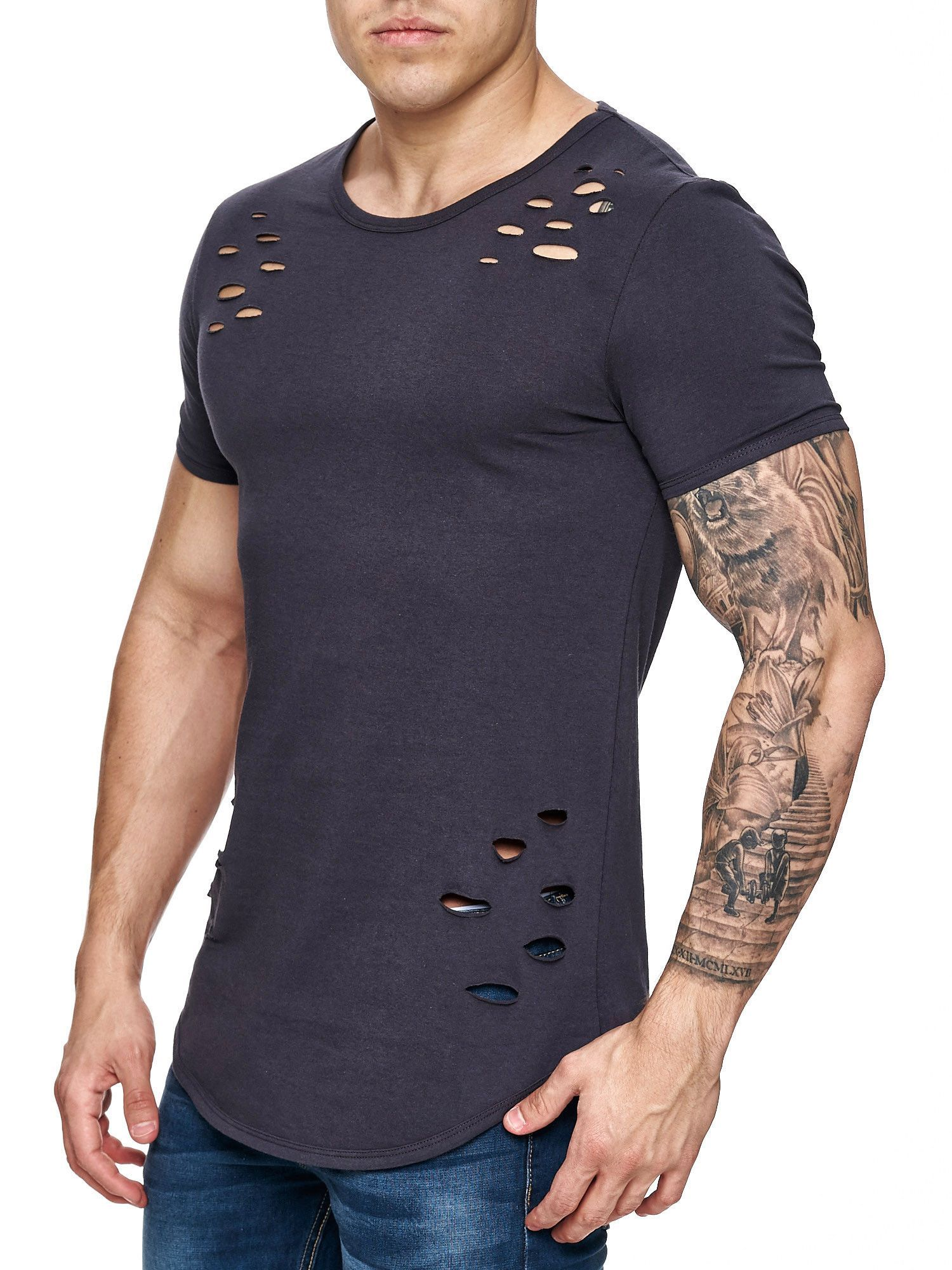 2719e193b F&S Men Ripped Holes T-Shirt - Dark Gray | Men Fashion | Men, Shirts ...