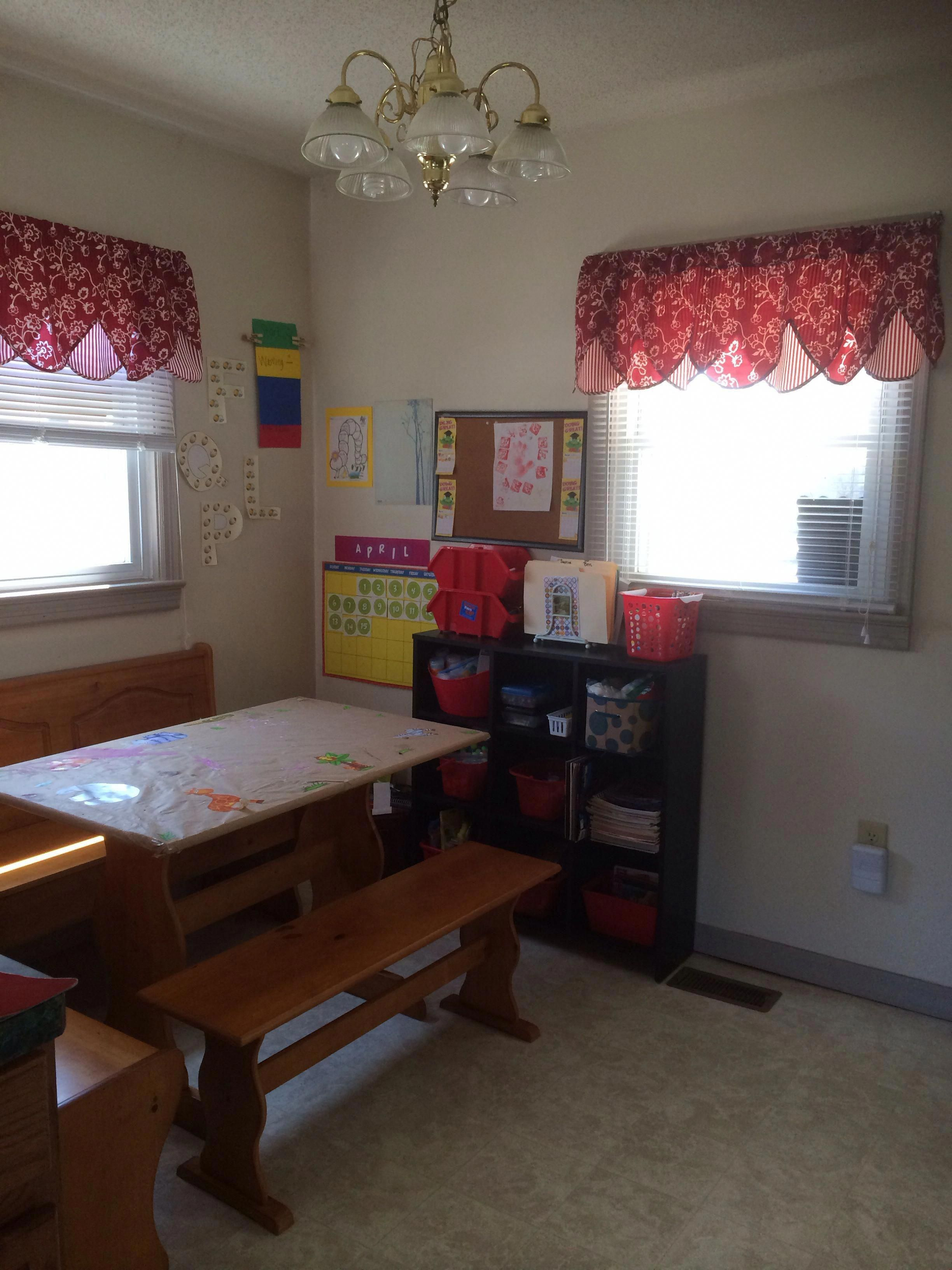 Home Daycare Command Center Bookshelf And Dollar Store Bins For