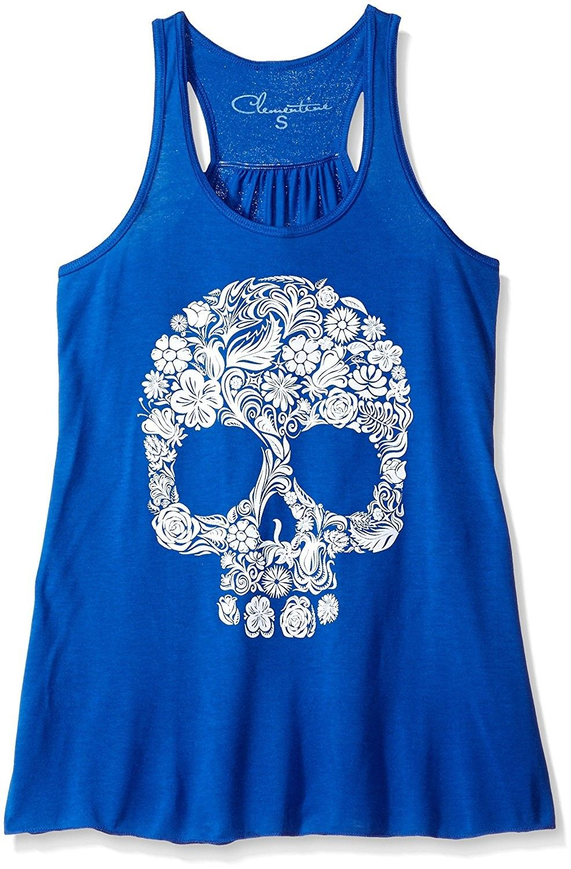 a0e80b266 Women's Clothing, Active, Active Shirts & Tees, Women's Floral Skull  Graphic Flowy Racerback Tank - True Royal - CK12M3M6KG7 #women #fashion  #clothing ...
