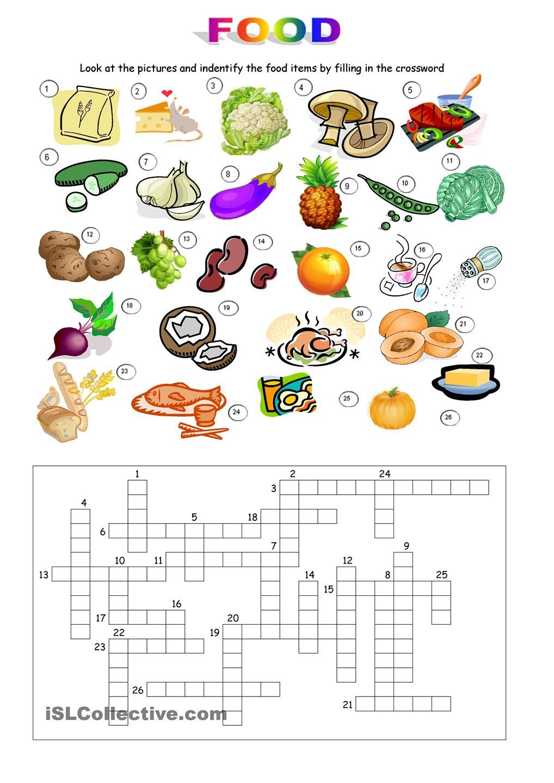 Food Crossword Кроссворд, Английская грамматика