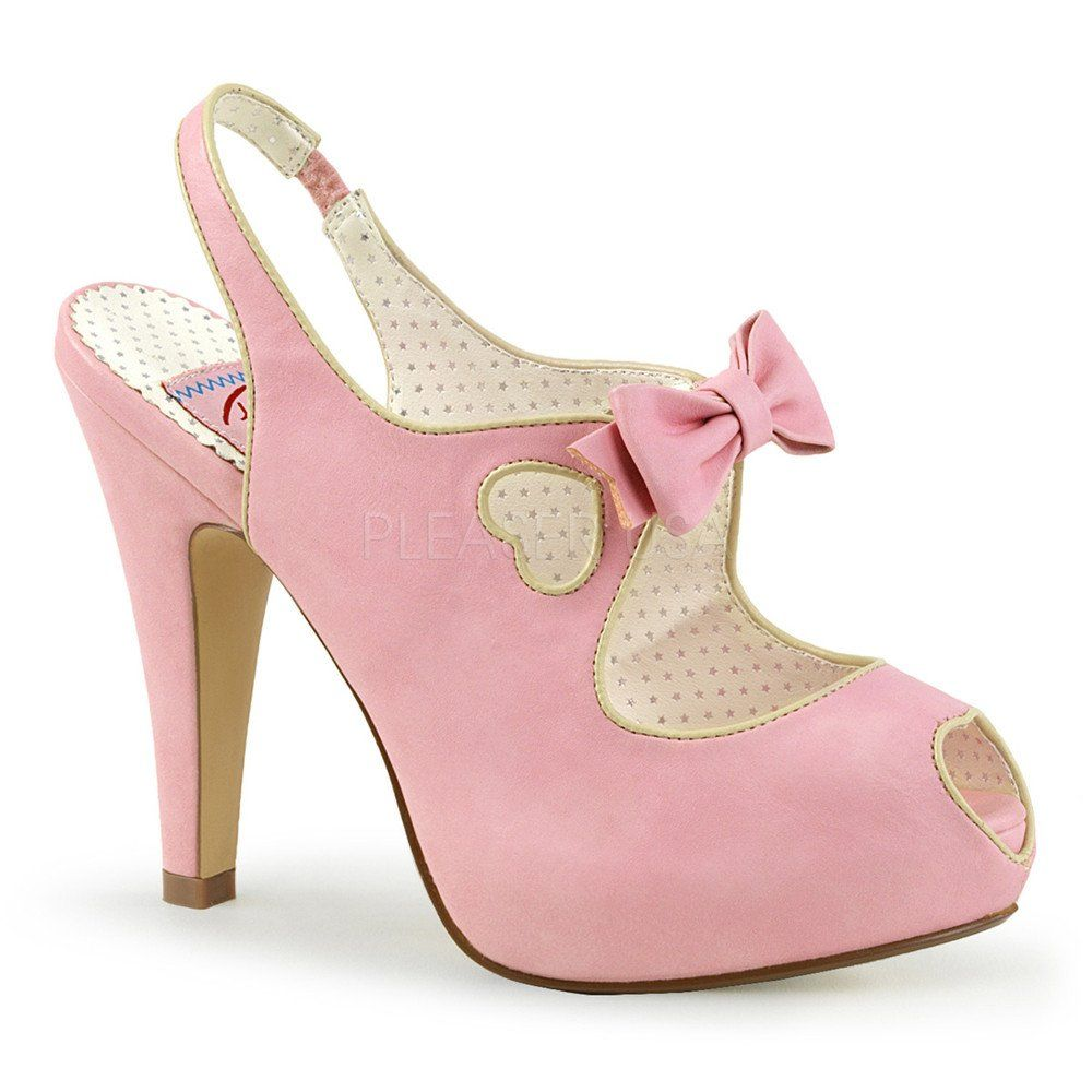 Pin Up Couture Baby Pink Bettie Slingback Heart Platform | Tacones ...