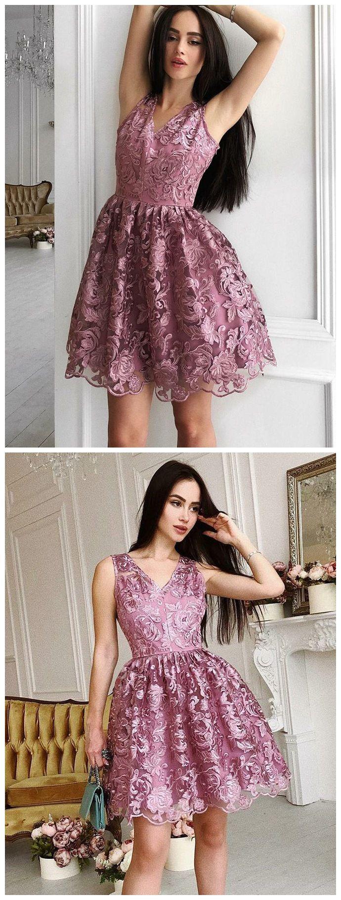 Vintage flower lace homecoming dresses v neck retro short prom dress