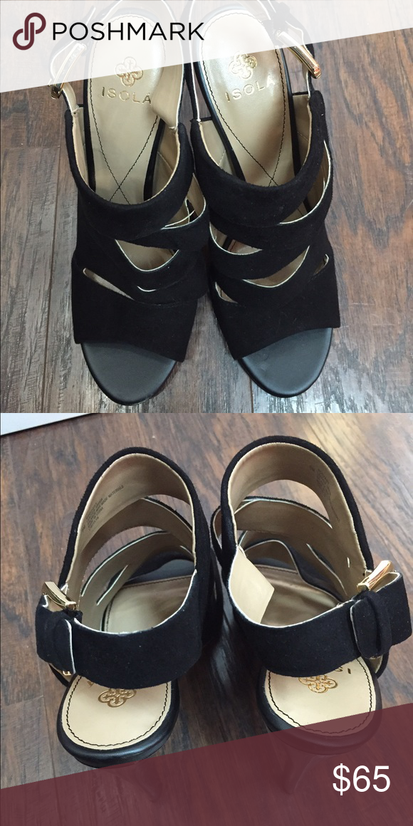 """Isola Strappy Shoes Black Cutout details. Suede construction. Back buckle strap closure. Covered heel. Approx. 4.5"""" heel. New Never Worn Isola Shoes Heels"""