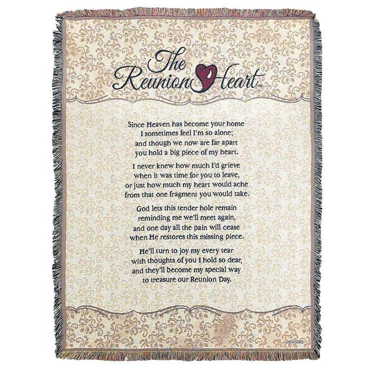 Reunion Heart Memorial Throw Blanket Memorials Sympathythrows New Memorial Throws Blankets