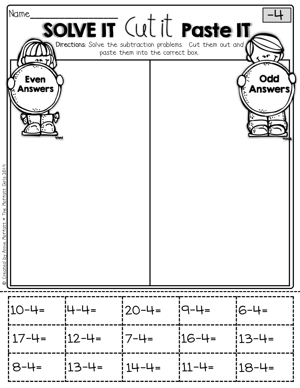 medium resolution of The Moffatt Girls: Interactive Math Packet (Subtraction up to 20)   Math  packets