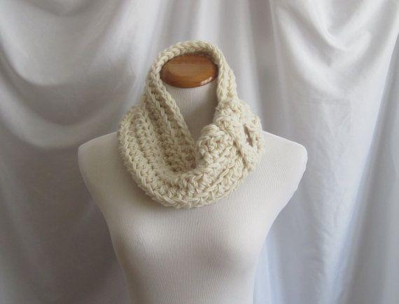 Cowl Button Neckwarmer Chunky Bulky Crochet by CrochetCluster