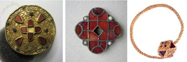 Merovingian jewellery from the cemetary at Grez-Doiceau, Wallon Region, Belgium.