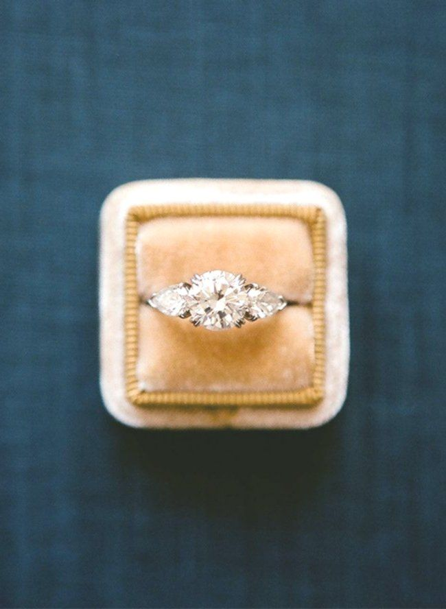 Round engagement ring with side pear stones