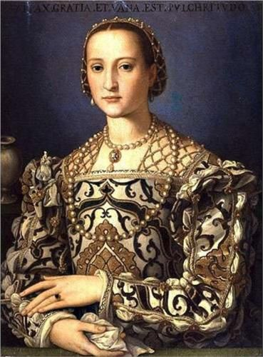 """""""Eleonora de Toledo, 1562 ~ by Agnolo di Cosimo ('Bronzino', Italian, 1503-1572); this portrait was done after Eleonora (the daughter of the Spanish envoy to Naples) was married to Cosimo I de Medici - who restored the power of the Medici which had declined after the assassination of Alessandro; the Medici would rule Florence until 1737."""