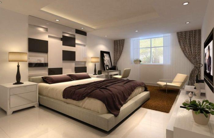 Schlafzimmer deckenleuchte ~ Schlafzimmergestaltung modernes design hochflorteppich eingebaute