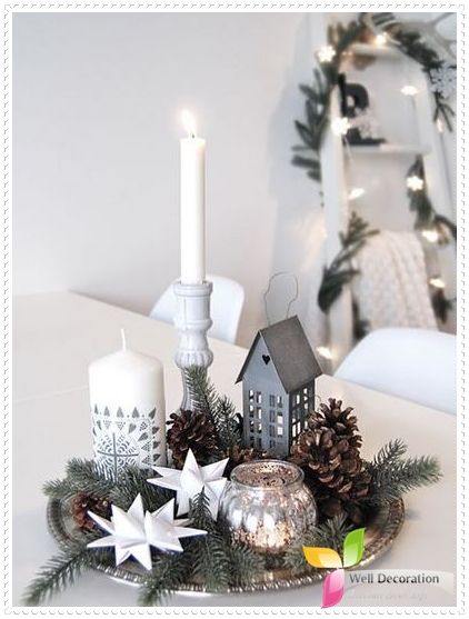 White Color Christmas Decorations  Well Decoration