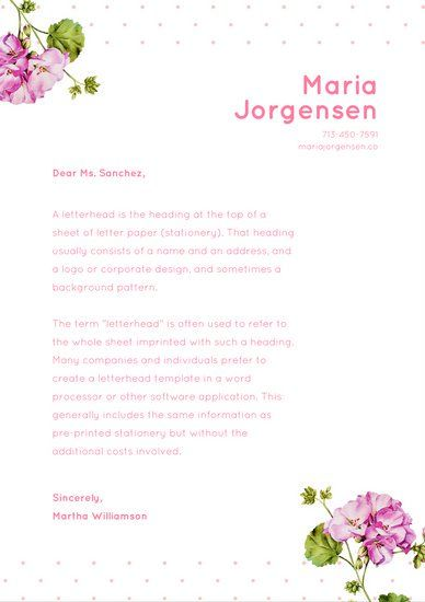 pink floral dotted personal letterhead