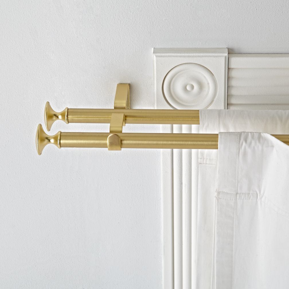 Shop Double Gold Curtain Rod Sturdy Sleek And Versatile Our Double Curtain Rod Will Coordinate With A Wi Gold Curtain Rods Curtain Rods Double Rod Curtains