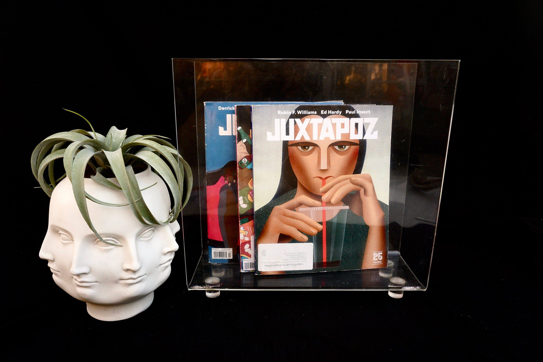 Vintage Lucite Magazine Rack Large Scale Modernist Minimalist