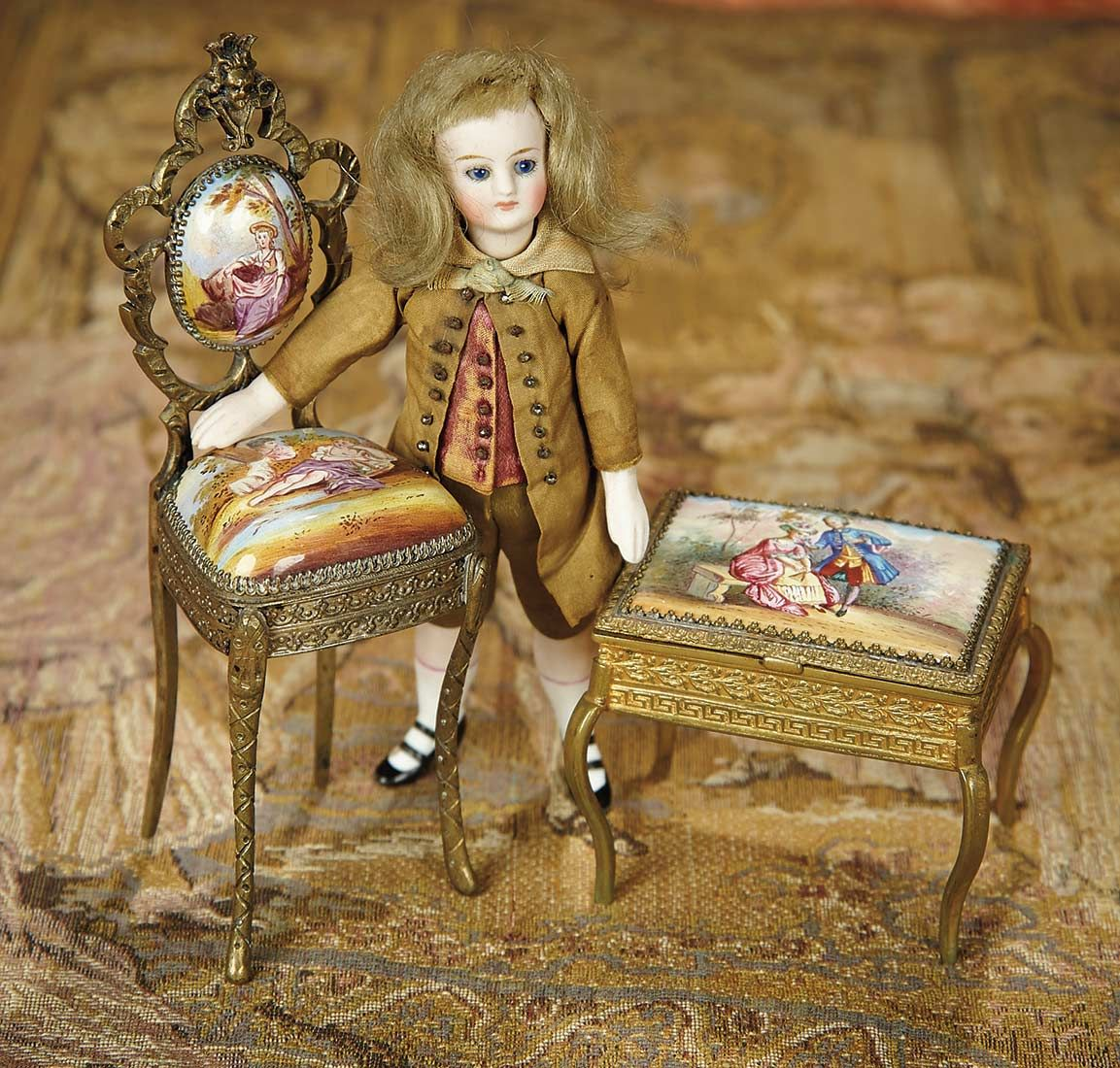 Bread and Roses - Auction - July 26, 2016: Lot #6 French All-Bisque Mignonette with Viennese Enamel Miniature Furniture