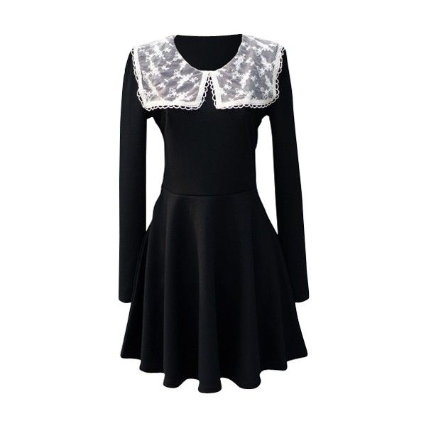 Embroidered lace cape collar skater dress ❤ liked on Polyvore