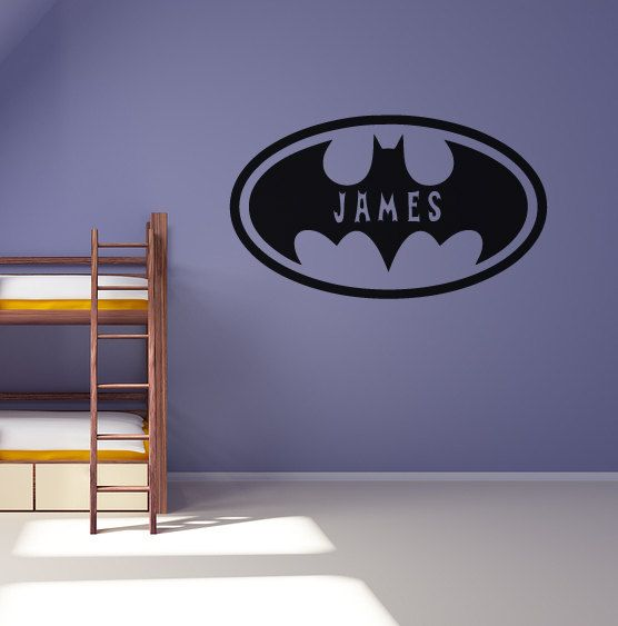 Personalised batman wall sticker boys bedroom decal for Batman bedroom wall mural
