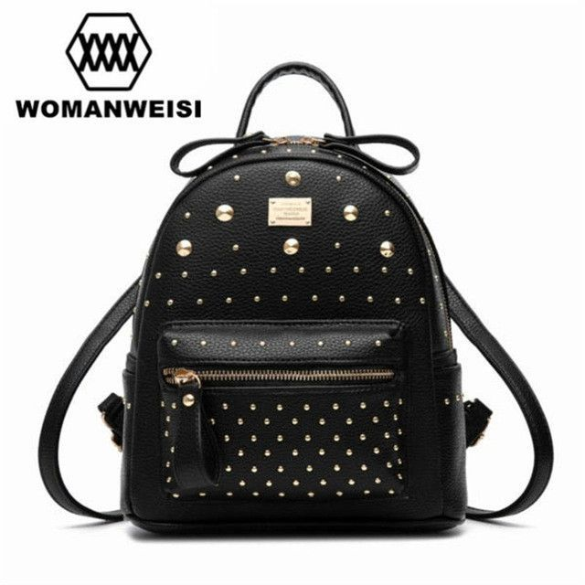 bfaccc7e10e Gold White Black 3 Color Fashion Leather Motorcycle Backpack Punk Style  Rivet Small Women Backpack For Teenage Girl Travel Bags