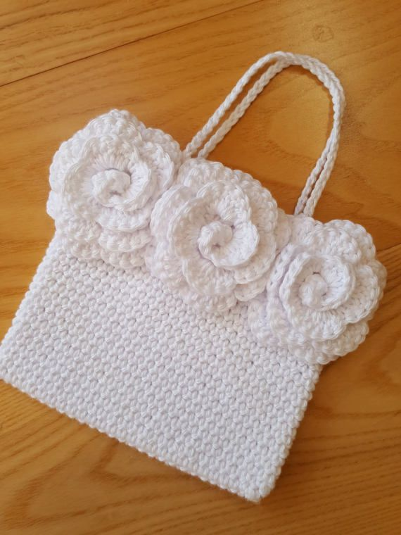 Crochet pattern Triple Rose Handbag bag PDF patt no27 uk and us ...