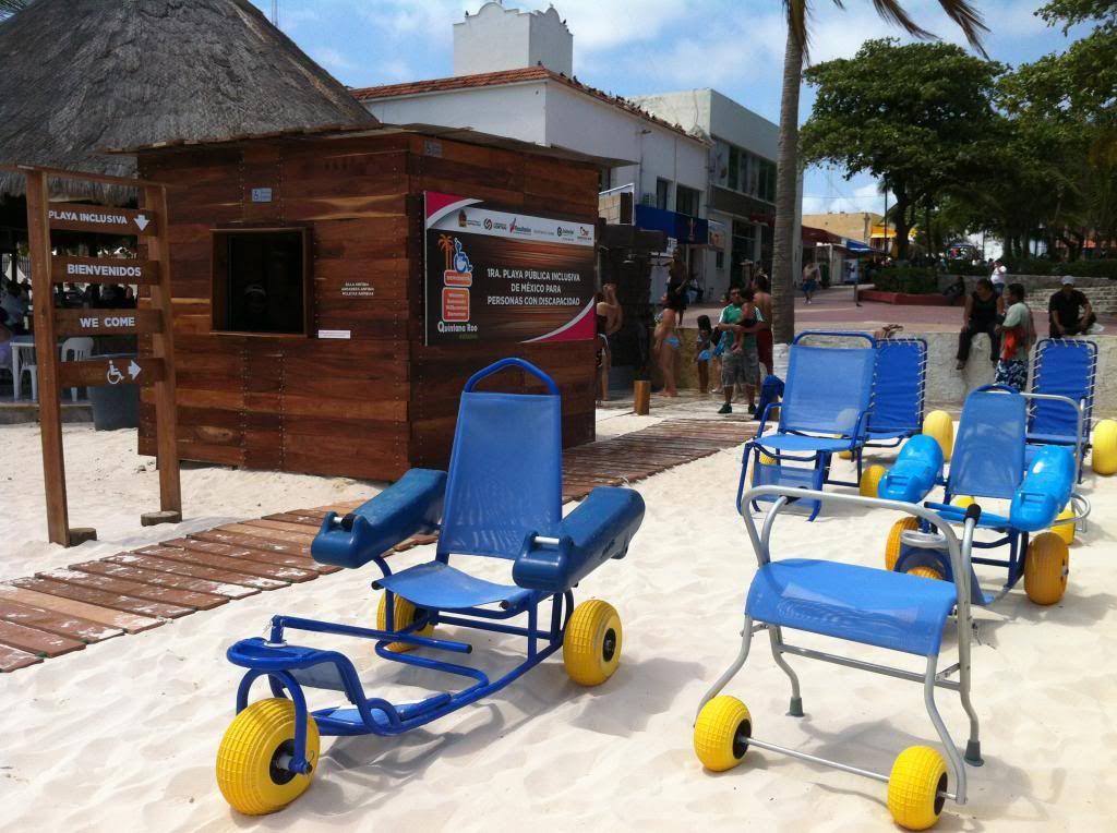 Beach chairs at Mexico's first wheelchair-accessible beach ...