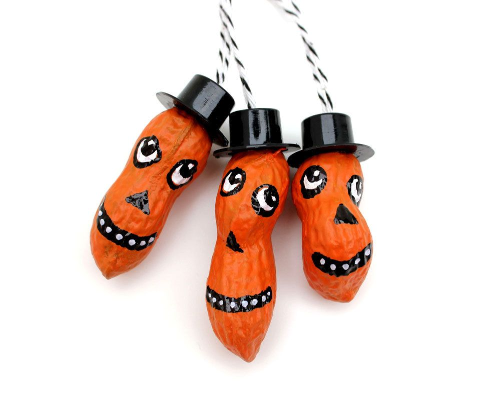 Jack o Lantern Peanut Ornaments- These are too cute You could paint - Whimsical Halloween Decorations