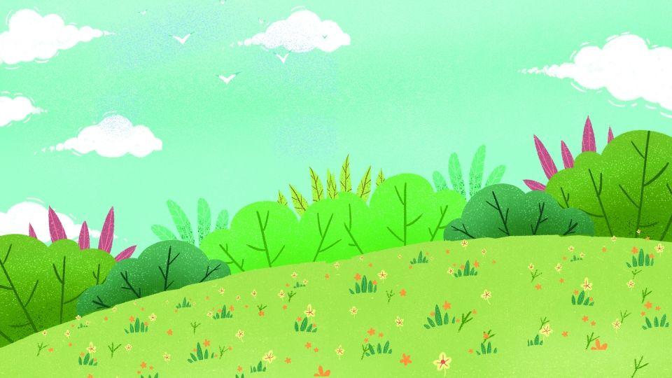 من ناحية رسم الكرتون الحديقة مرسومة باليد رسوم متحركة بسيط الحديقة عشب السماء Nature Art Painting Nature Art Art Painting
